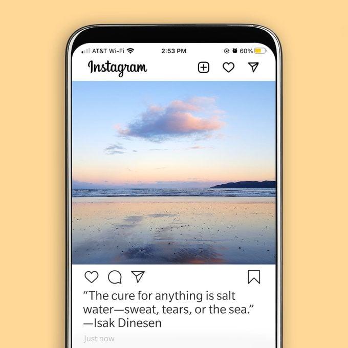 instagram screenshot displaying a beach sunset