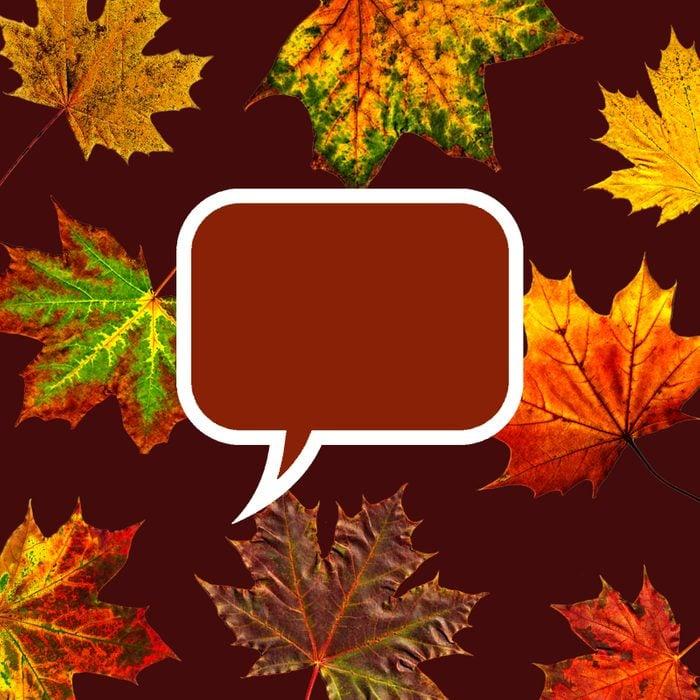 autumn leaves behind burgundy speech bubble