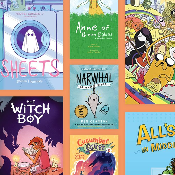 Seven kids book covers on orange background