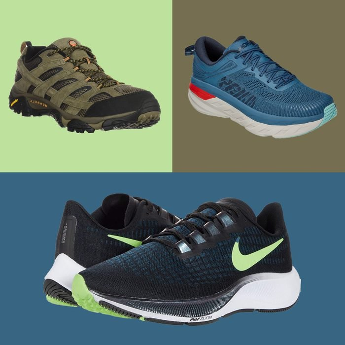 Mens Shoes collage on colored tiles
