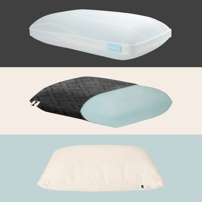 Three RD-recommended pillows on multicolor background