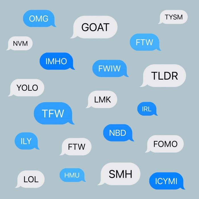 Text Abbreviations in text bubbles on blue-gray background