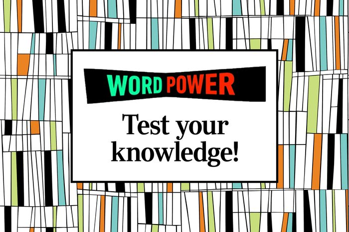 """Word Power logo over text, """"test your knowledge"""" with midcentury geometric background"""