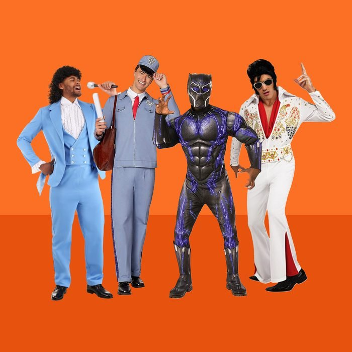 4 Mens halloween costumes on orange background