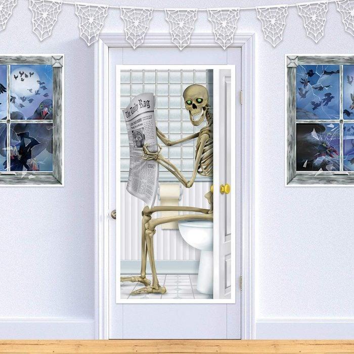 halloween skeleton decal for bathroom door