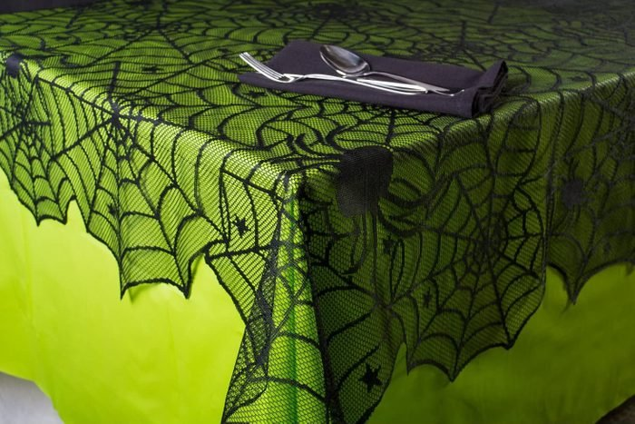 spider web table cloth for halloween party