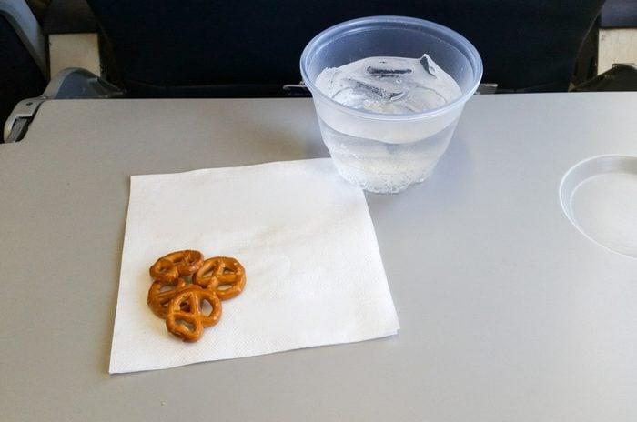 Airline Snacks (Pretzels) & Beverage