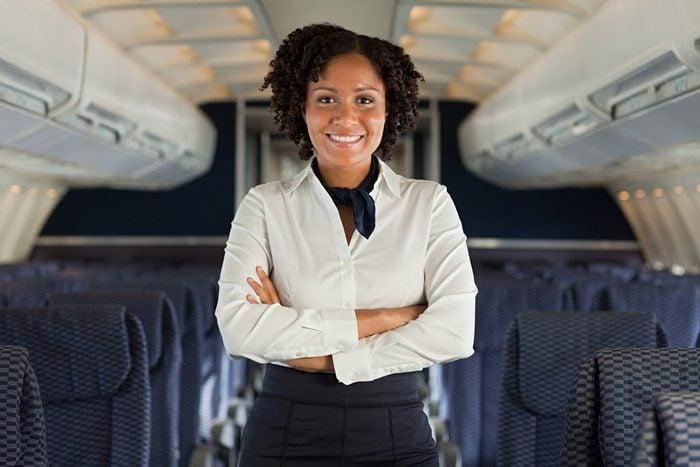 Stewardess on airplane