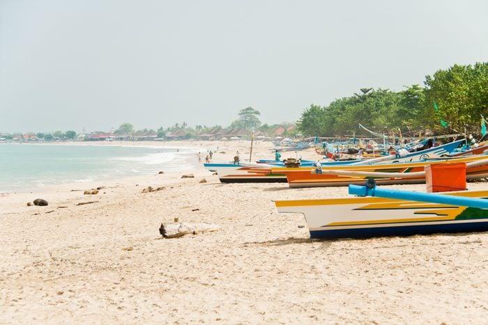 Fishing boats at Jimbaran beach in Bali, Indonesia
