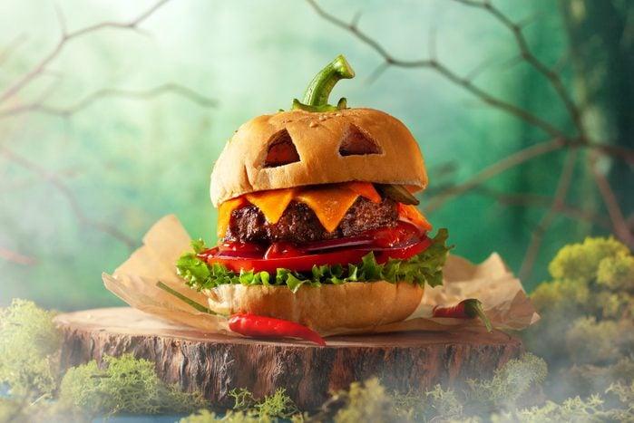 a cheese burger pumpkin for halloween