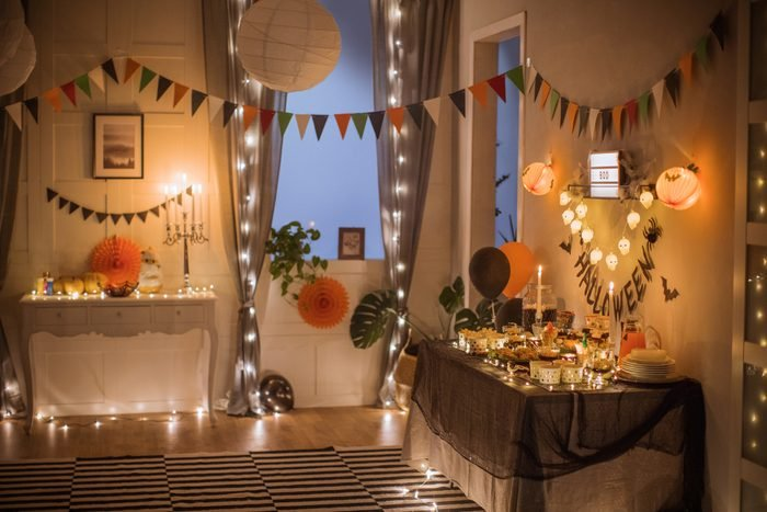 halloween party with string lights decoration