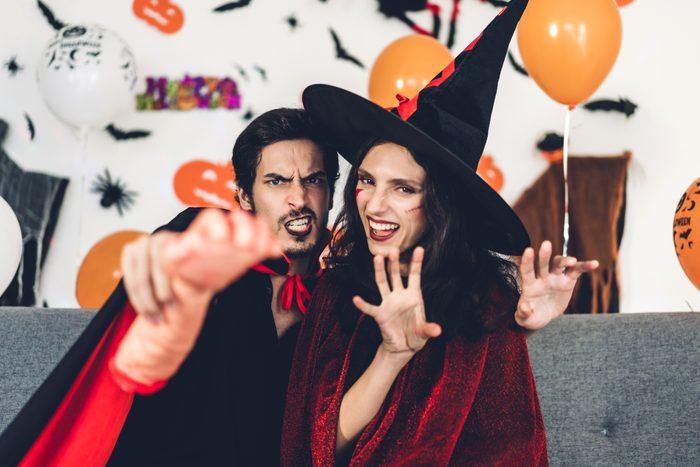 couple wearing a halloween costume