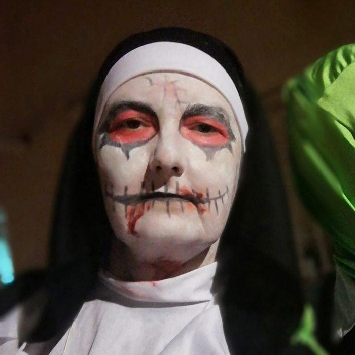 nun face paint for halloween costume