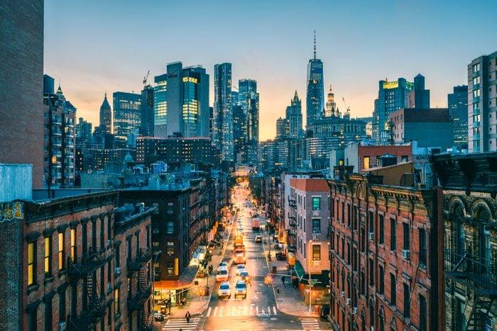 High angle view of Lower Manhattan, New York City