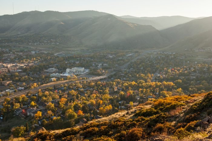 Golden, Colorado at sunset from North Table Mountain