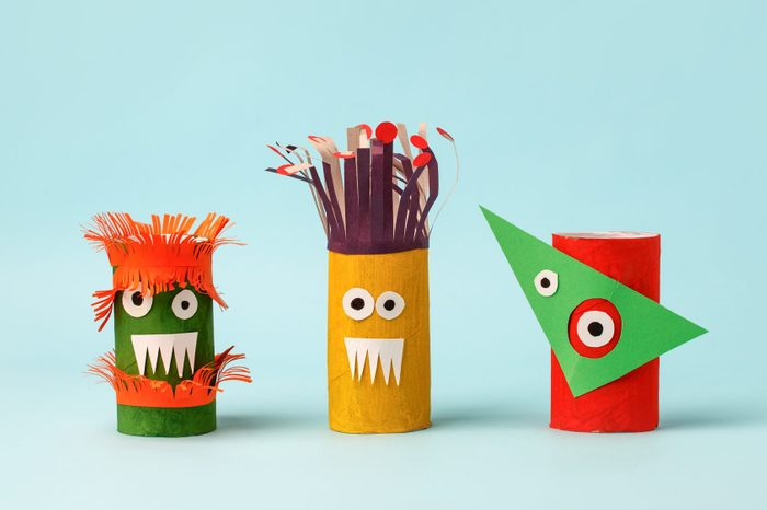 monsters made from paper and toilet paper rolls for halloween craft decor
