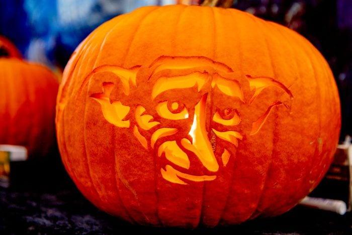 Dobby face carved pumpkin