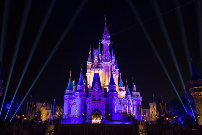 Cinderella Castle At Walt Disney World Is Lit Purple And Gold for 2020 NBA Champion Los Angeles Lakers