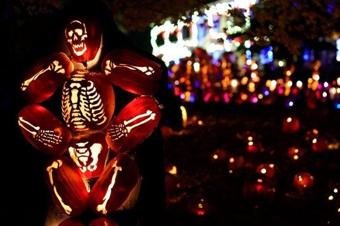 Skeleton made of halloween pumpkins