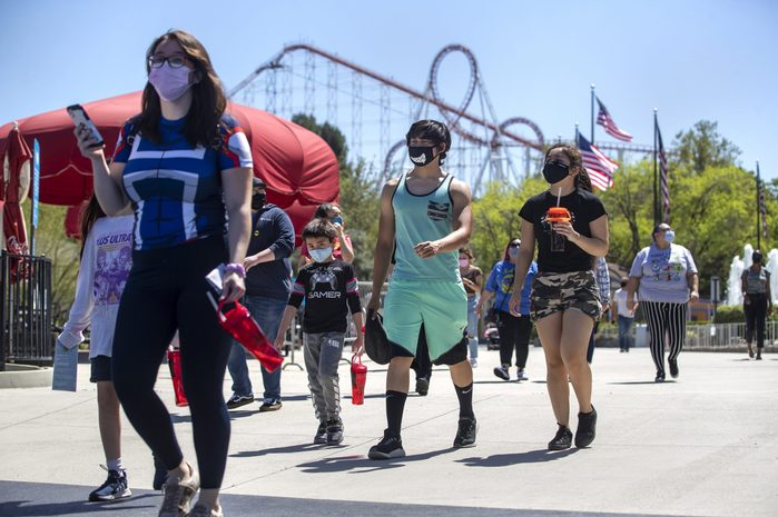 Six Flags guests wearing face masks