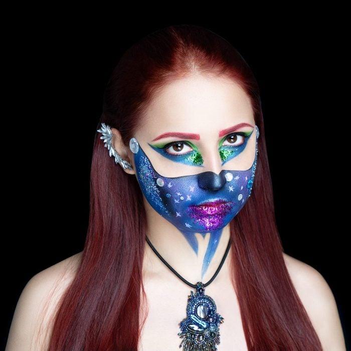 blue universe face paint