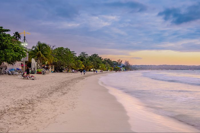 seven mile beach negril jamaica at sunset