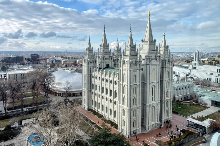 Salt Lake City cityscape with Mormon Temple, Temple Square, Utah, USA