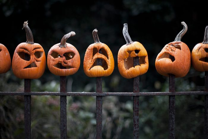 carved pumpkins impaled on a scary fence