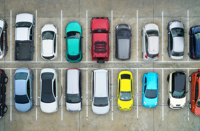 Full tight parking lot from above