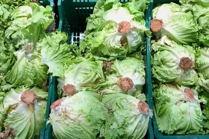 Rusty heads of Lettuce At a Supermarket