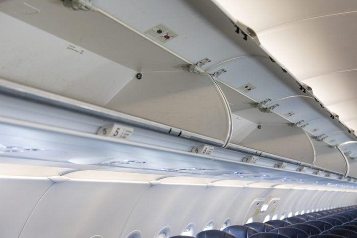 Overhead luggage storage on empty airplane