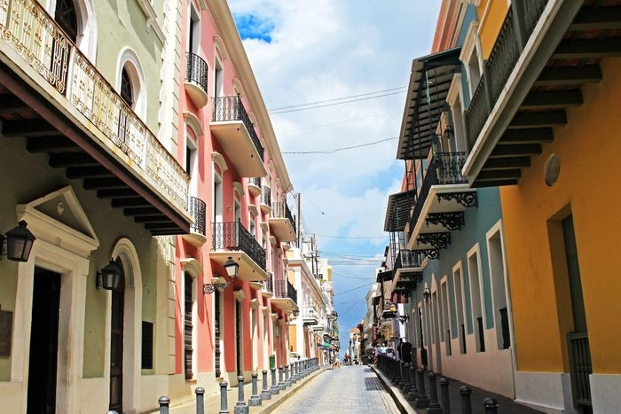 Old buildings and blue cobblestones in the streets of Old San Juan, Puerto Rico