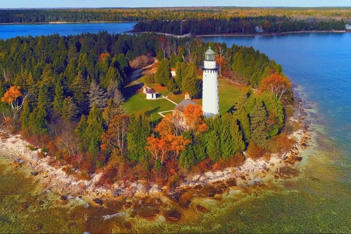 Scenic Cana Island Lighthouse, Door County, Wisconsin, aerial flyby