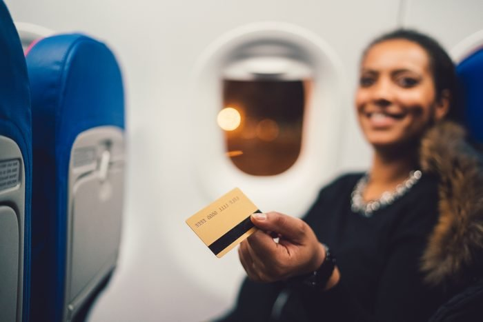 Credit card payment in airplane