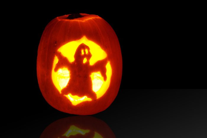 ghost carved pumpkin for halloween