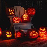 Illuminated carved Jack O Lantern At Night for halloween