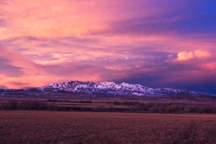 Colorful sky over snowy mountains, Bozeman, Gallatin, Montana, USA