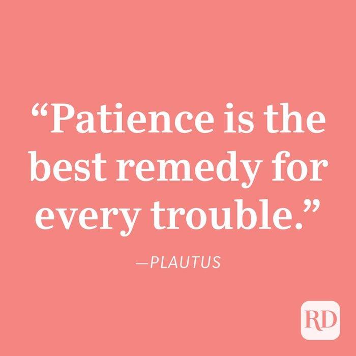 Plautus Patience Quote