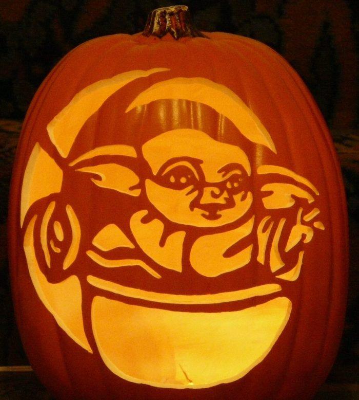 Baby Yoda Carved Pumpkin