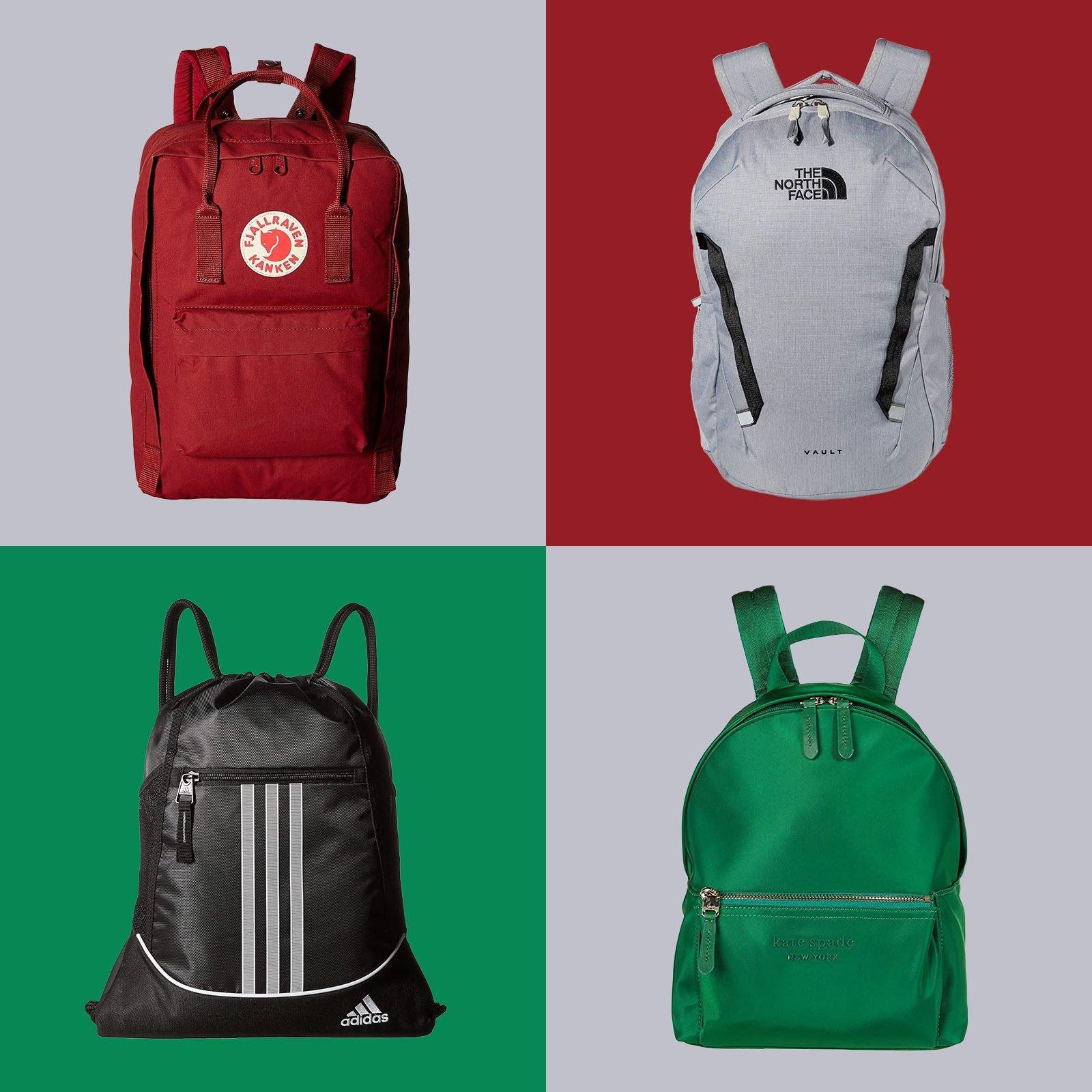 Four backpacks on multicolor tile background