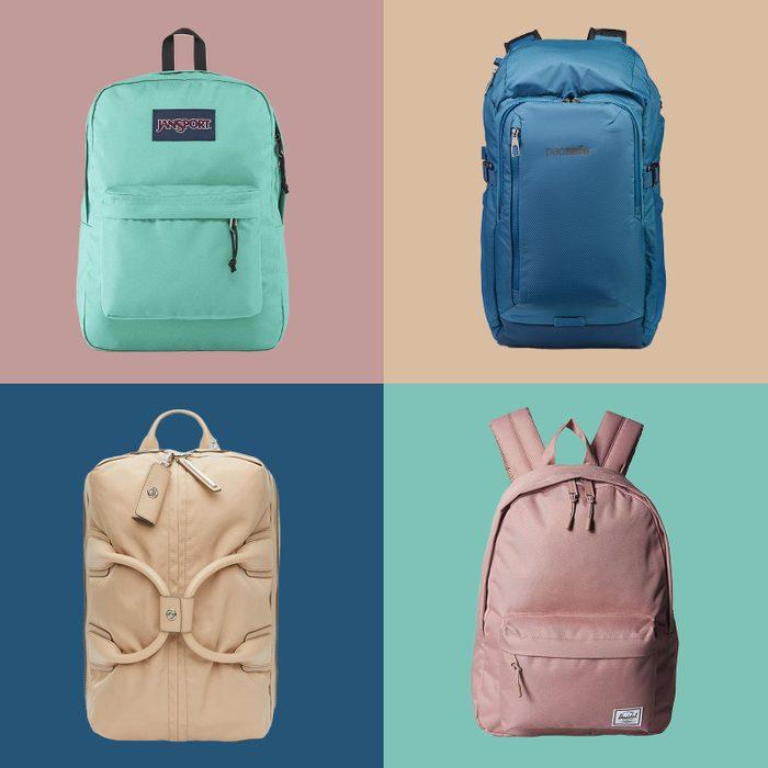 Backpacks on multicolor tile background