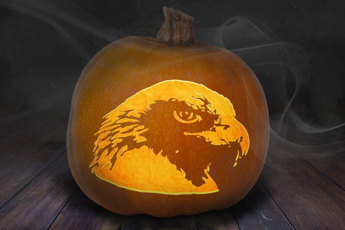 Bald Eagle Carved Pumpkin