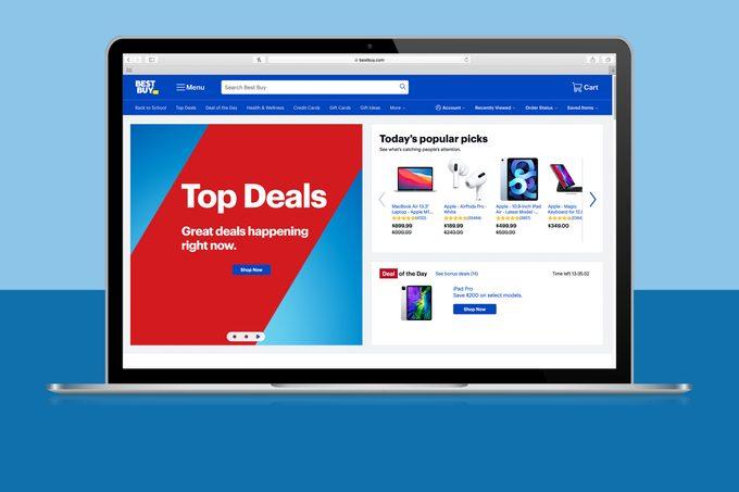 Best Buy website homepage on laptop screen