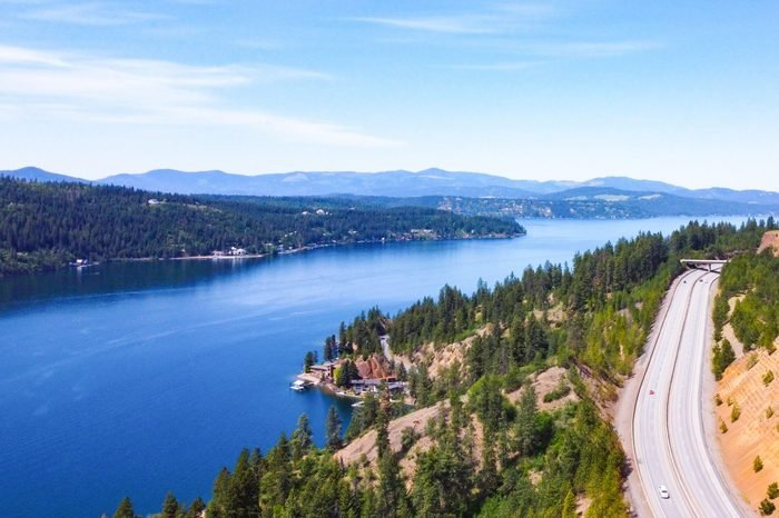 Coeur d'Alene Lake and Highway - Aerial View