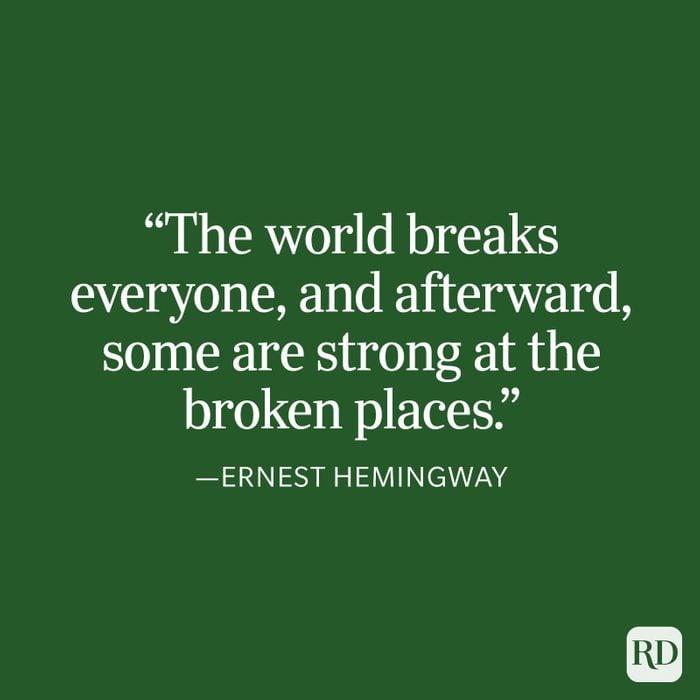 Ernest Hemingway Strength Quote