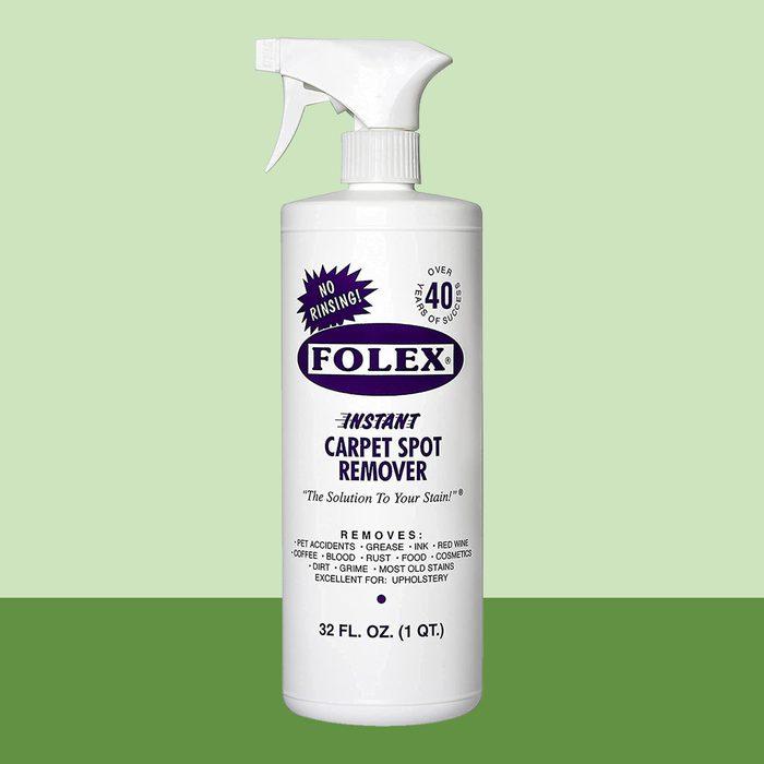 Folex Carpet Spot Cleaner bottle on green background