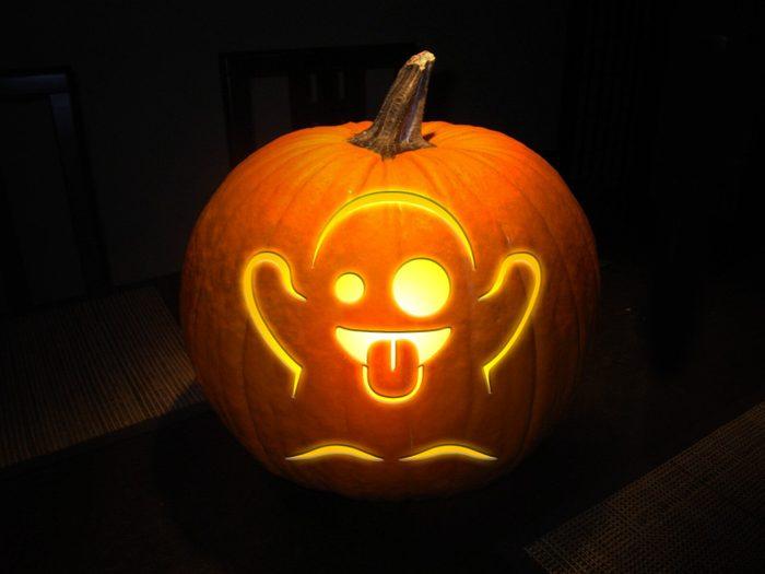 Ghost Emoji Carved Pumpkin