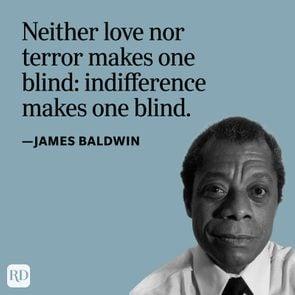James Baldwin portrait with quote