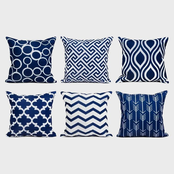 Navy Blue And White Outdoor Throw Pillow Covers