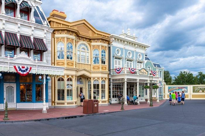 Pastel colored buildings exterior in the Walt Disney's Magic...